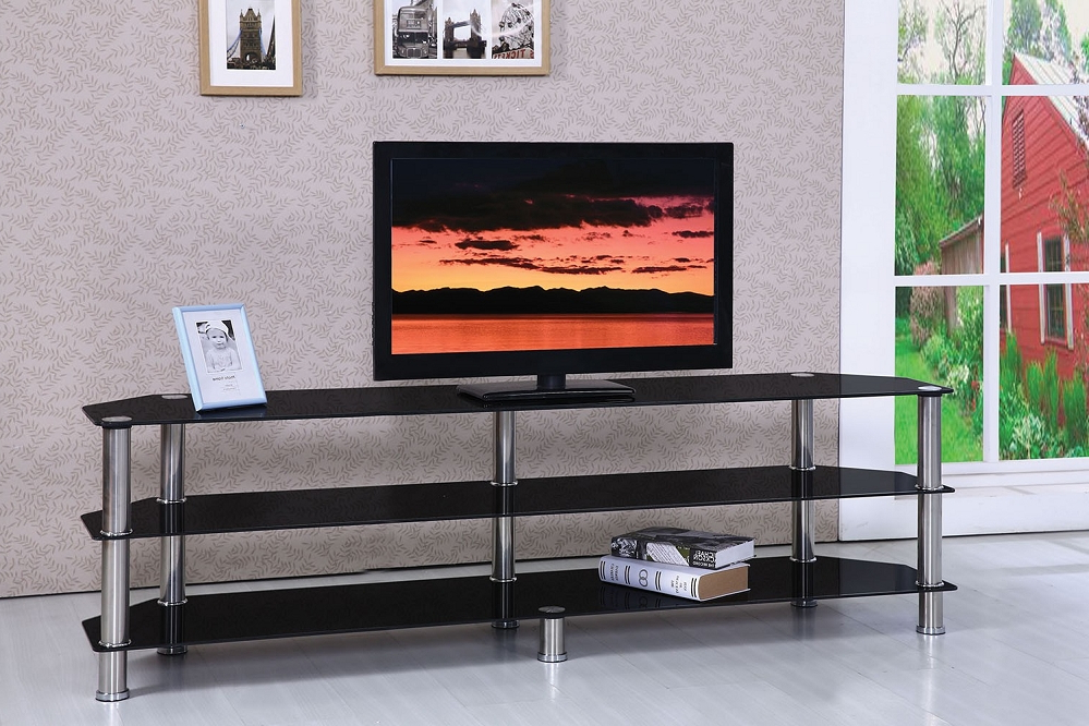 Marabel Chrome Black Tempered Glass Tv Stand With Regard To Rfiver Black Tabletop Tv Stands Glass Base (View 5 of 20)