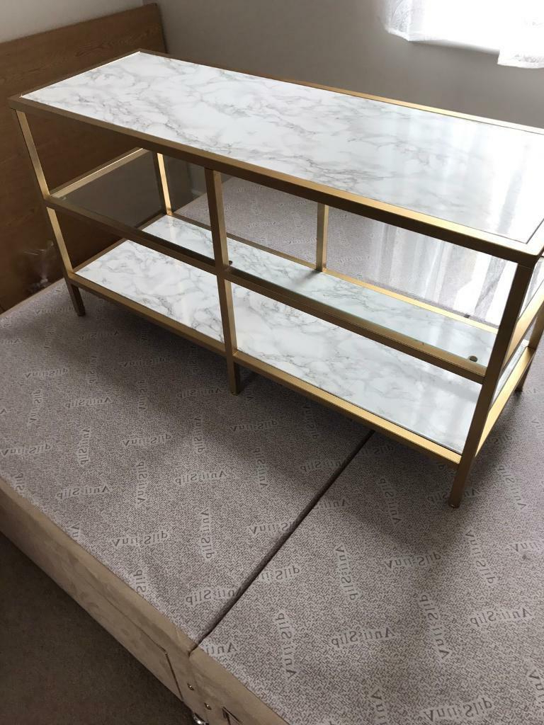 Marble And Gold Customised Tv Stand / Media Unit Ikea | In Regarding Claudia Brass Effect Wide Tv Stands (View 8 of 20)