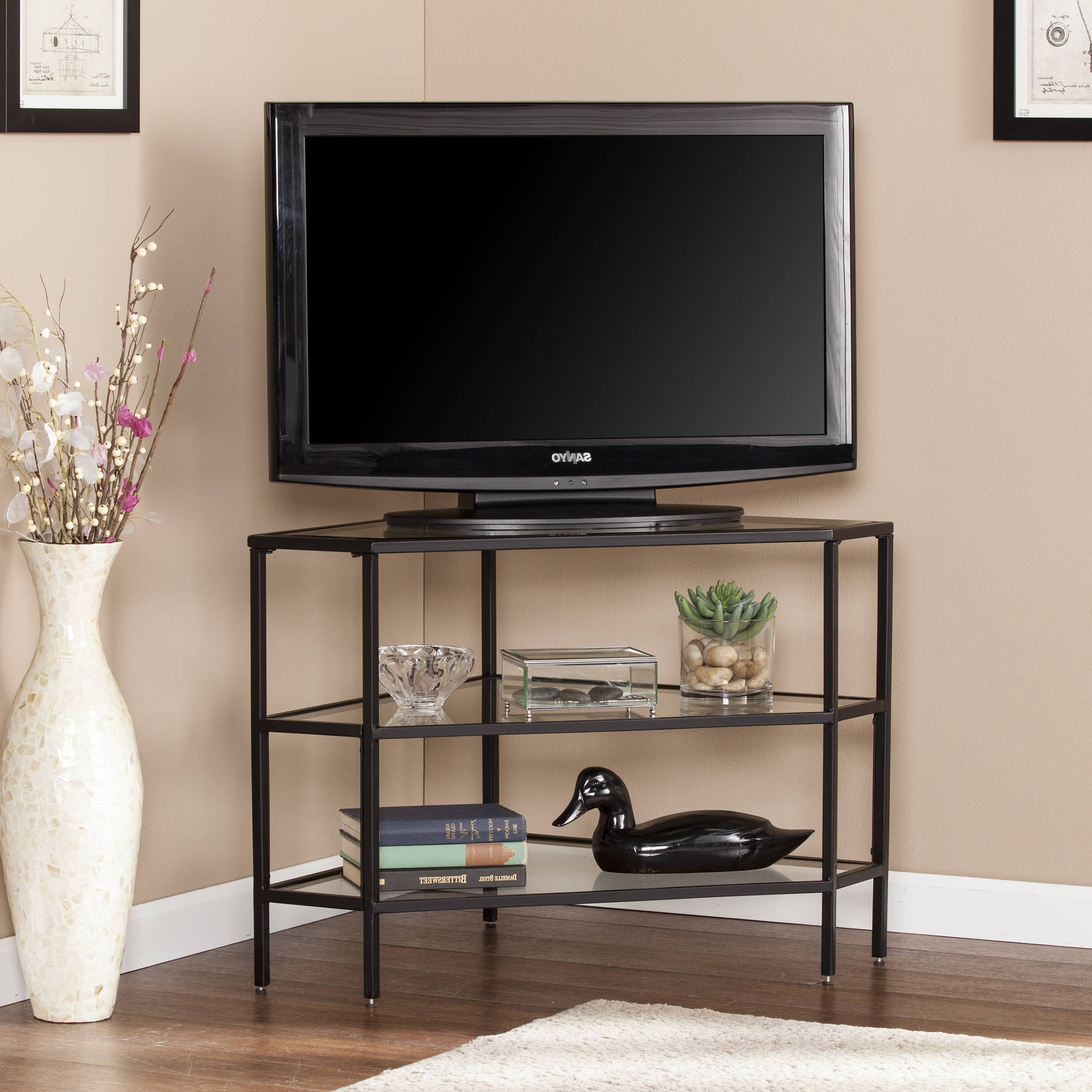 """Matte Black Nealie Metal/glass Corner Tv Stand For Tvs Up With Glass Shelves Tv Stands For Tvs Up To 60"""" (View 9 of 20)"""