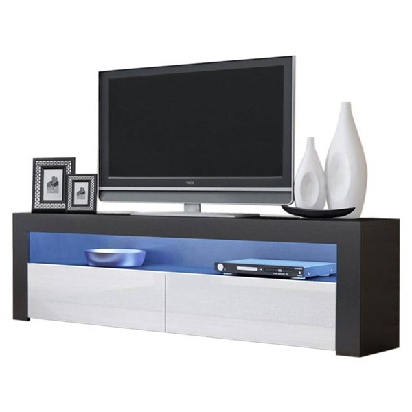Meble Furniture Milano Classic Black White 63 Inch Tv For Milano White Tv Stands With Led Lights (View 9 of 20)