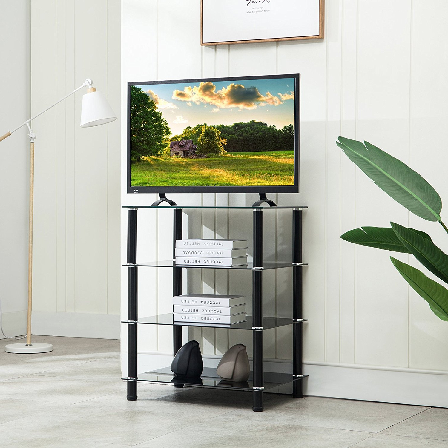 Mecor 4 Tier Media Tv Stand Component Cabinet With Glass With Regard To Tier Entertainment Tv Stands In Black (View 14 of 20)