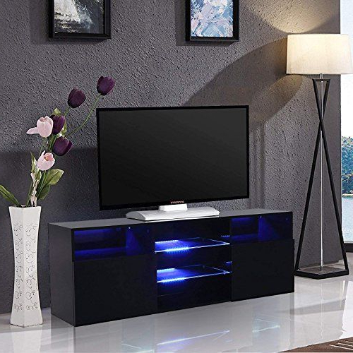 """Mecor High Gloss Tv Stand With Led Lights, 58"""" Tv Shelves With Regard To Zimtown Tv Stands With High Gloss Led Lights (View 5 of 20)"""