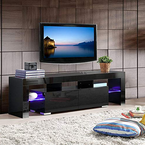 Mecor Modern Black Tv Stand With Led Lights, High Gloss Tv With Modern Black Floor Glass Tv Stands With Mount (View 11 of 20)
