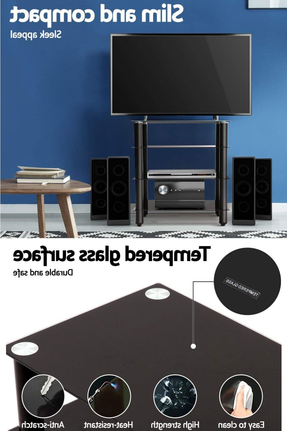 Media Stand Component Shelf 4 Tier Hifi Rack Black Inside Tier Entertainment Tv Stands In Black (View 7 of 20)