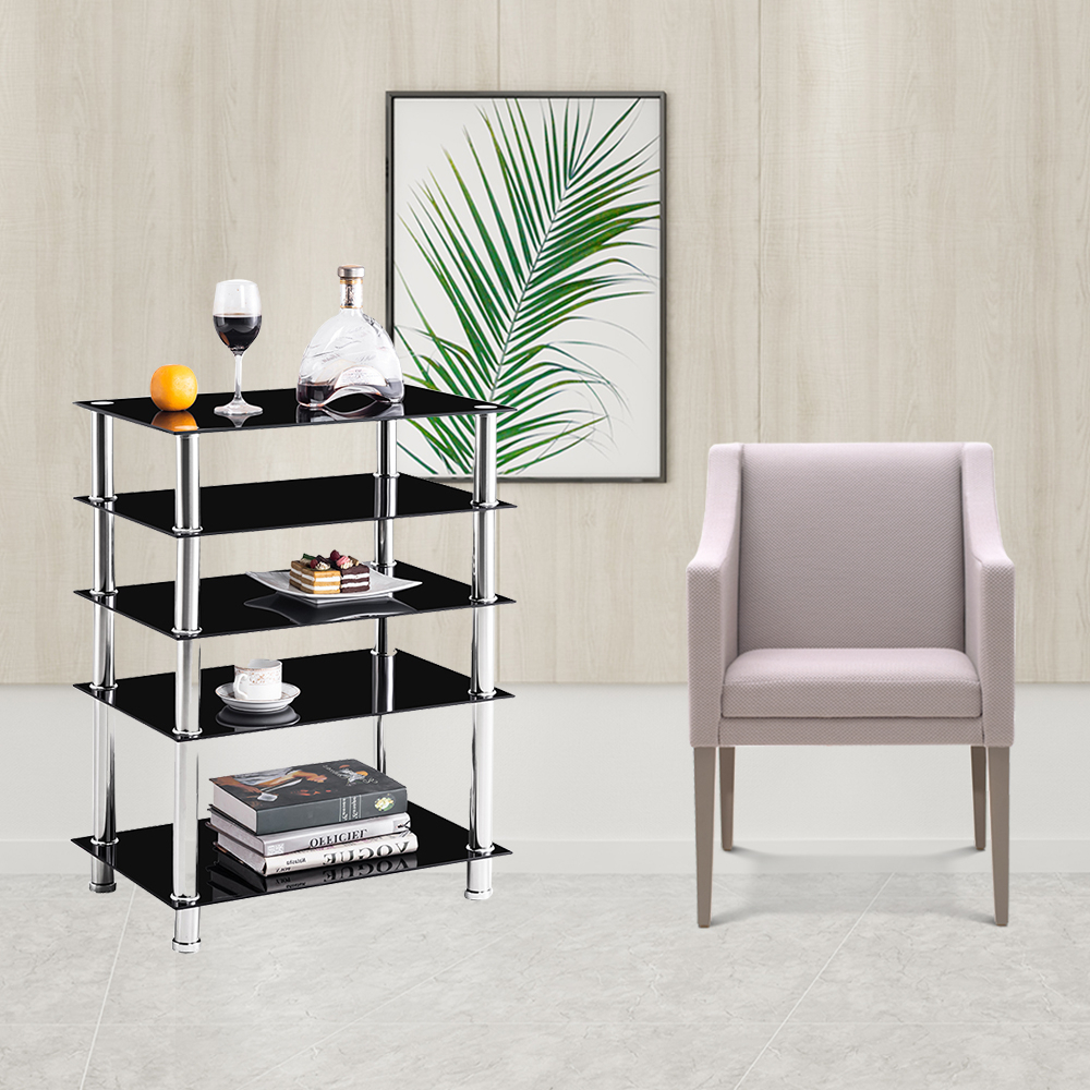 Media Stand, Modern Audio Video Tower With 5 Tier Black Intended For Glass Shelf With Tv Stands (View 9 of 20)