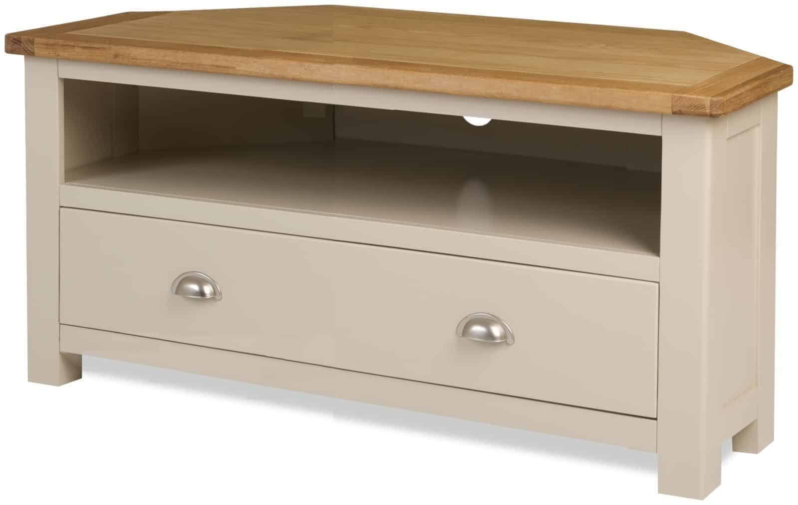 Melton Stone Colour Painted Oak Corner Lcd Tv Cabinet In Compton Ivory Corner Tv Stands (View 2 of 20)