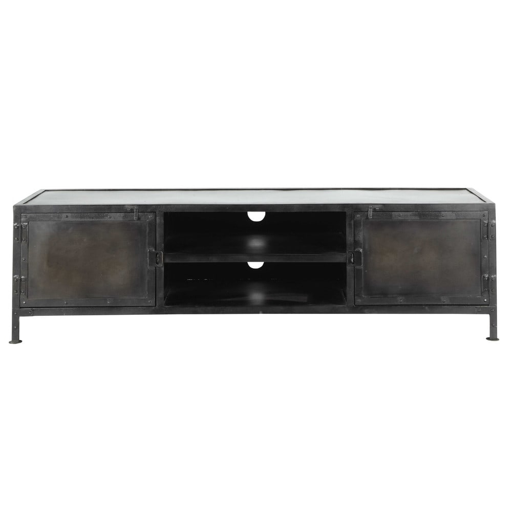 Metal Industrial Tv Unit, Black W 150cm Edison | Maisons With Modern Mobile Rolling Tv Stands With Metal Shelf Black Finish (View 17 of 20)
