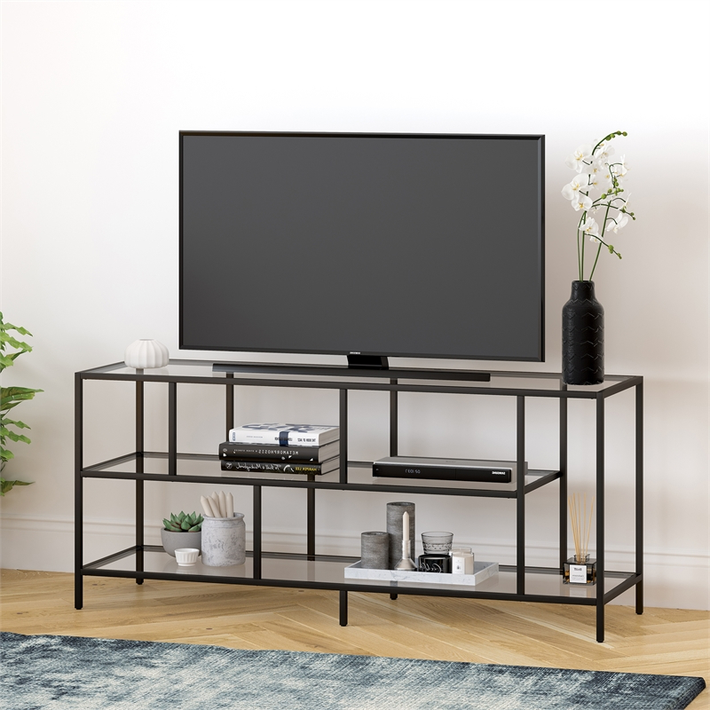"""Metal Tv Stand For Tvs Up To 55"""", Media Console Table With Regarding High Glass Modern Entertainment Tv Stands For Living Room Bedroom (View 1 of 20)"""