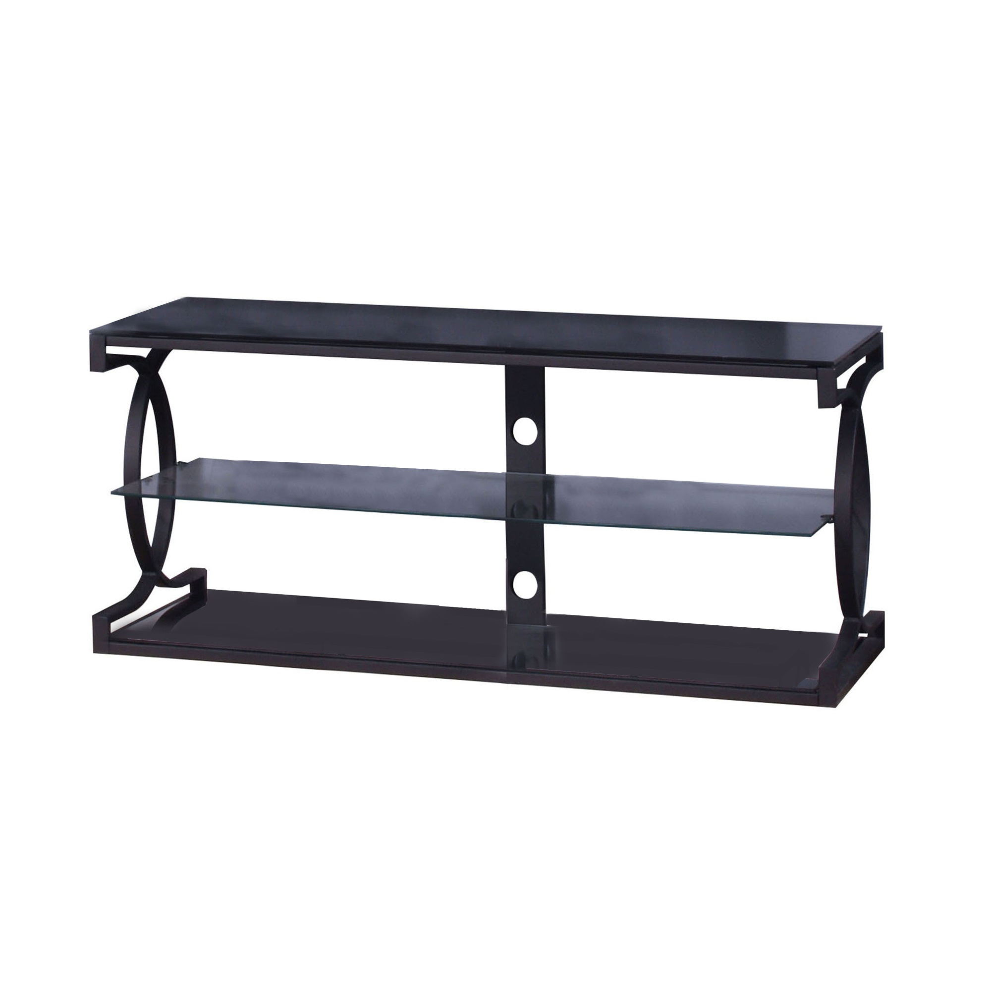 Metal Tv Stand With 2 Glass Shelves And Interlocked Design Pertaining To Glass Shelves Tv Stands (View 14 of 20)