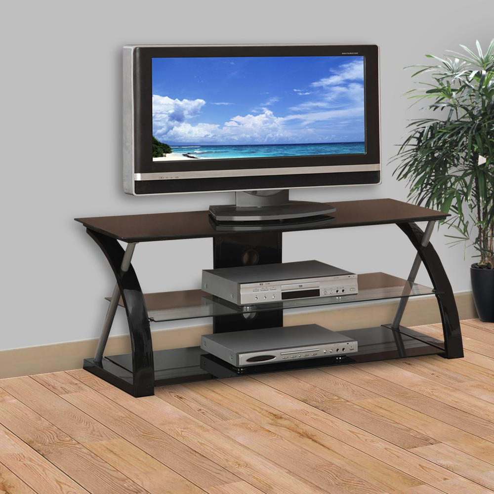 Metal Tv Stand With 3 Glass Shelves, Black In Tabletop Tv Stands Base With Black Metal Tv Mount (View 2 of 20)