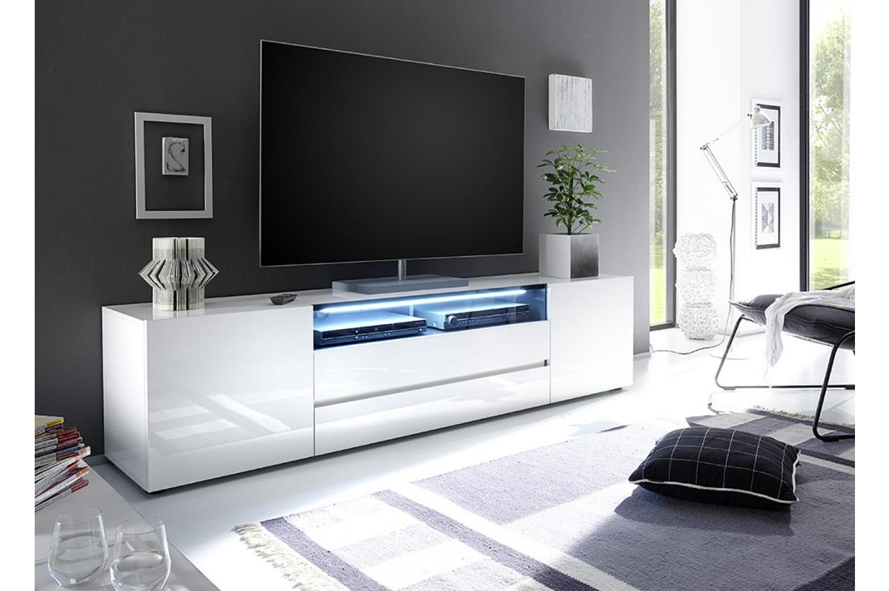 Meuble Tv Blanc Laqué Avec Éclairage Led – Trendymobilier Regarding Solo 200 Modern Led Tv Stands (View 2 of 20)