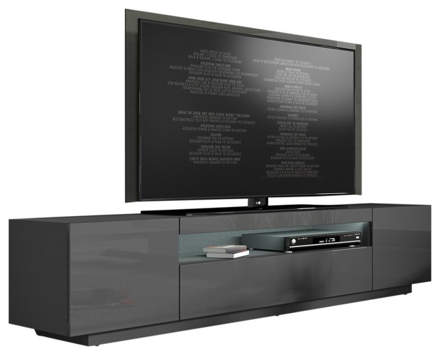 """Miami 200 Modern 90"""" Tv Stand High Gloss Front, 16 Colors With Milano 200 Wall Mounted Floating Led 79"""" Tv Stands (View 10 of 20)"""