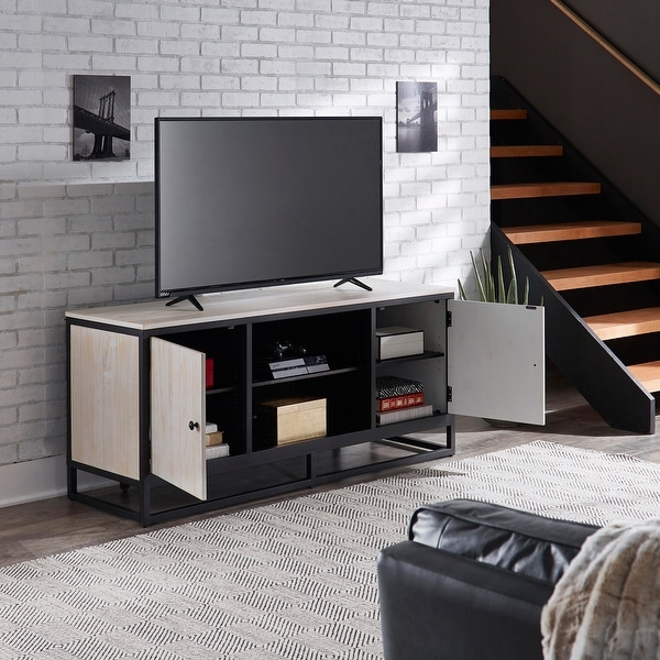 Micah Distressed Finish Black Metal 58 Inch Tv Stand With Regard To Modern Black Floor Glass Tv Stands For Tvs Up To 70 Inch (View 12 of 20)