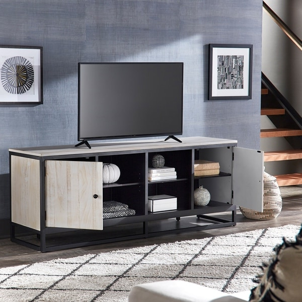 Micah Distressed Finish Black Metal 70 Inch Tv Stand Throughout Tabletop Tv Stands Base With Black Metal Tv Mount (View 9 of 20)