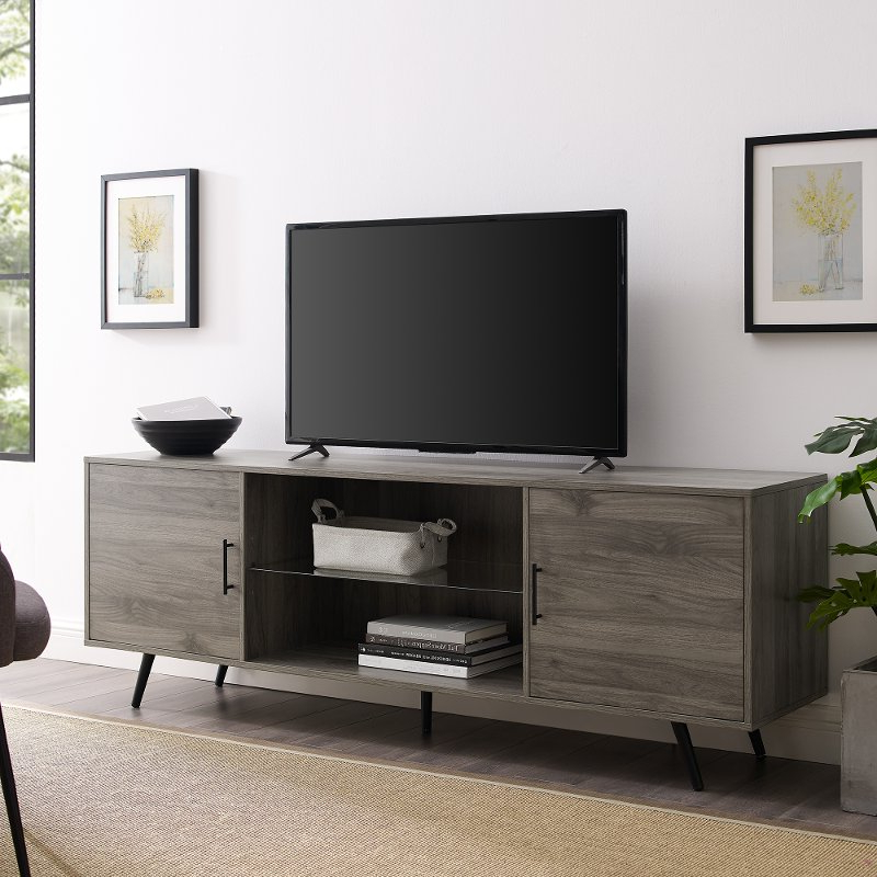 Mid Century Modern 70 Inch Tv Stand – Slate Grey   Rc Intended For Delphi Grey Tv Stands (View 10 of 20)
