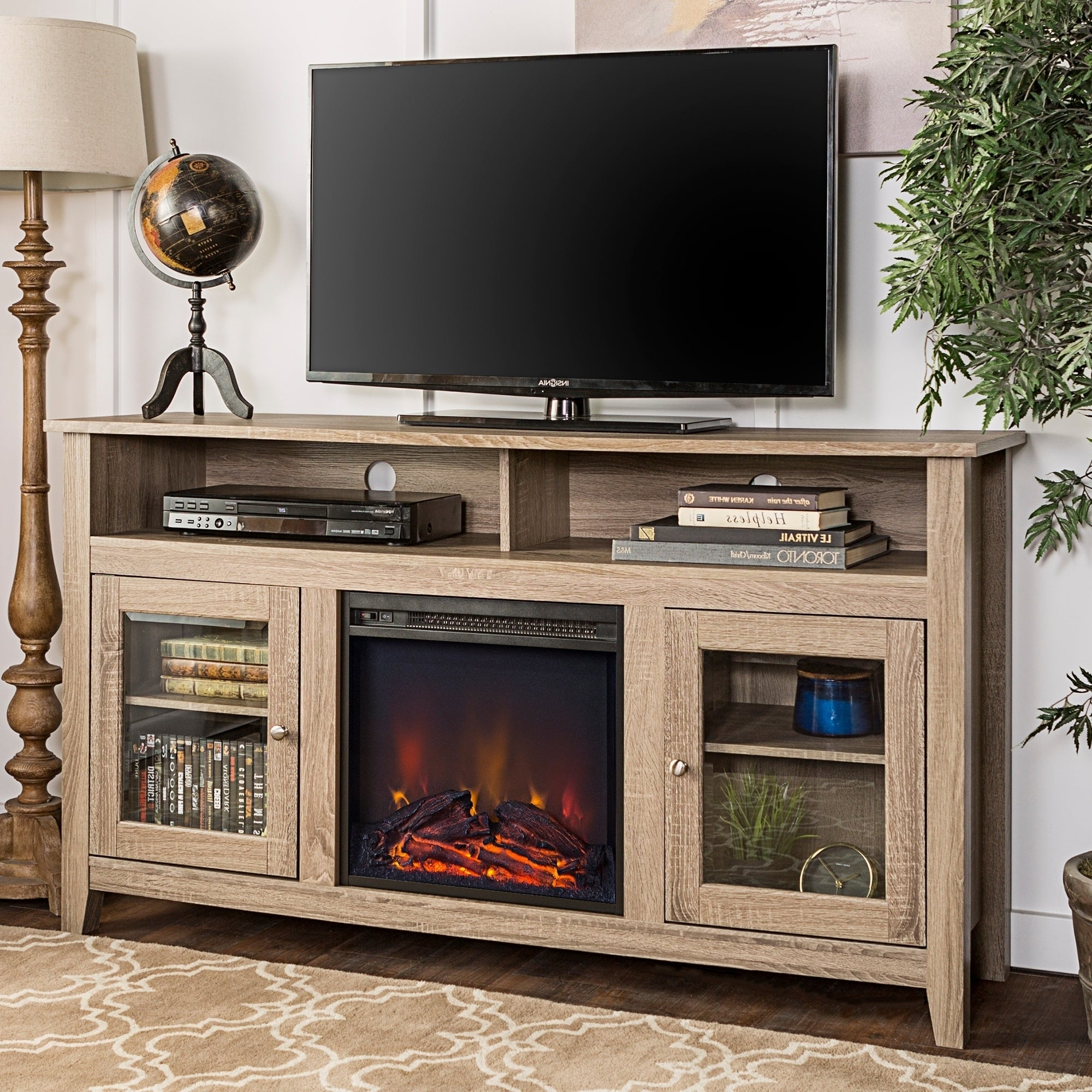"""Middlebrook Designs 58 Inch Driftwood Highboy Fireplace Tv Regarding Broward Tv Stands For Tvs Up To 70"""" (View 3 of 20)"""