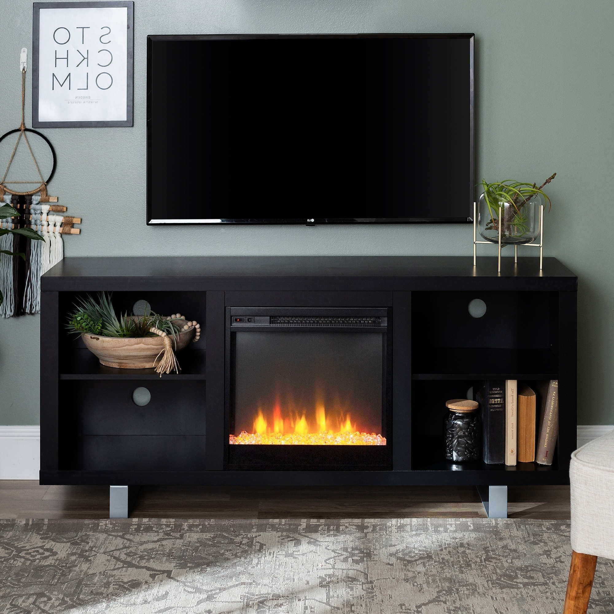 Middlebrook Designs 58 Inch Modern Fireplace Tv Stand Inside Simple Open Storage Shelf Corner Tv Stands (View 6 of 20)