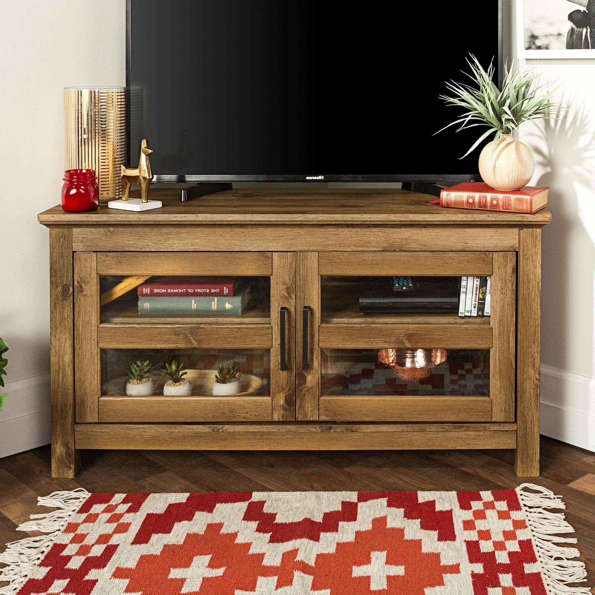 Middlebrook Designs Bow Valley 44 Inch Barnwood Corner Tv Throughout Priya Corner Tv Stands (View 7 of 20)