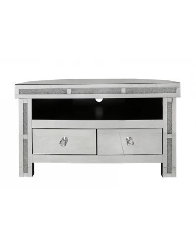 Milan Mirrored Diamond Corner Tv Cabinet Back In Stock End Pertaining To Milan Glass Tv Stands (View 5 of 20)