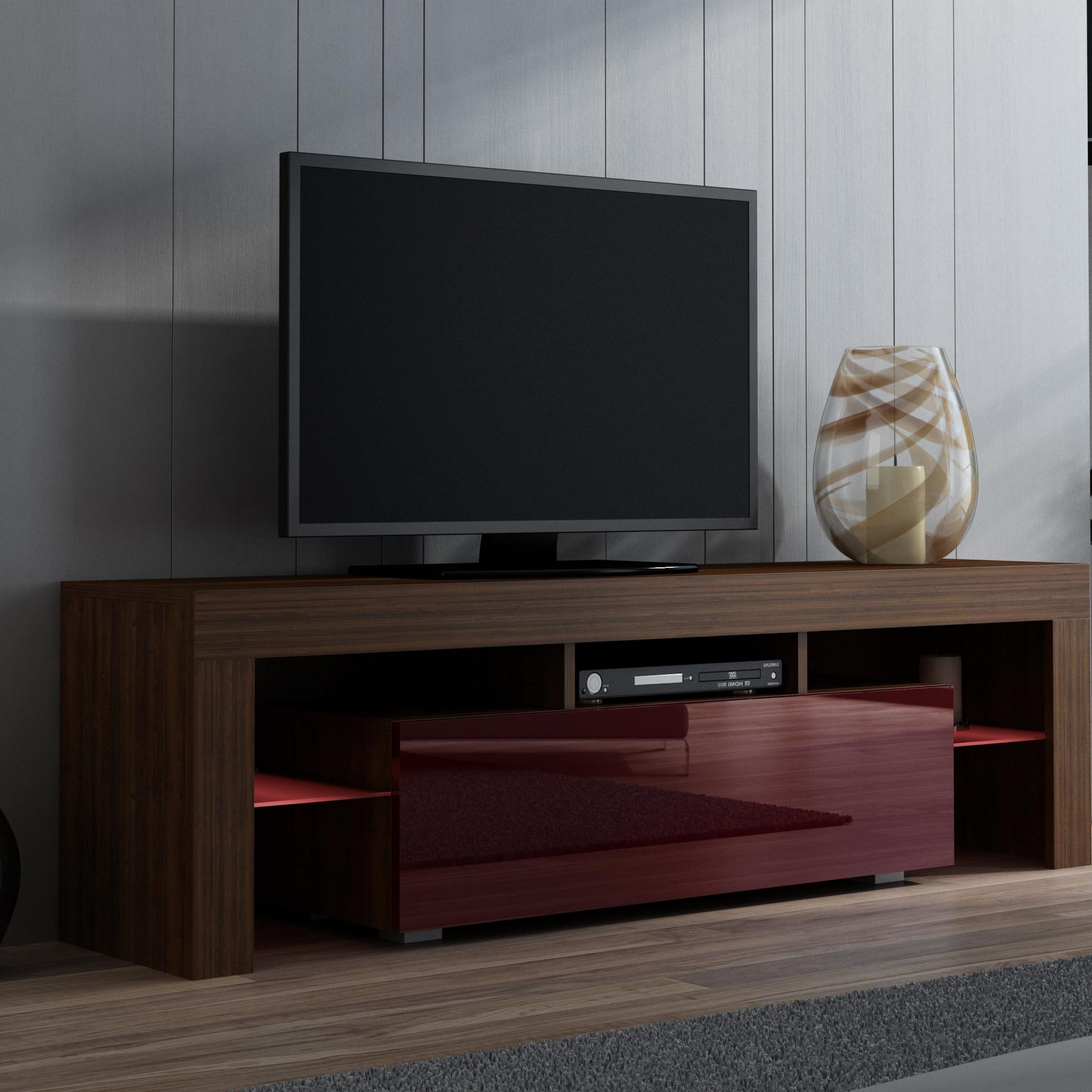 Milano 130 – Walnut Tv Console Table / Entertainment Tv Intended For High Glass Modern Entertainment Tv Stands For Living Room Bedroom (View 2 of 20)