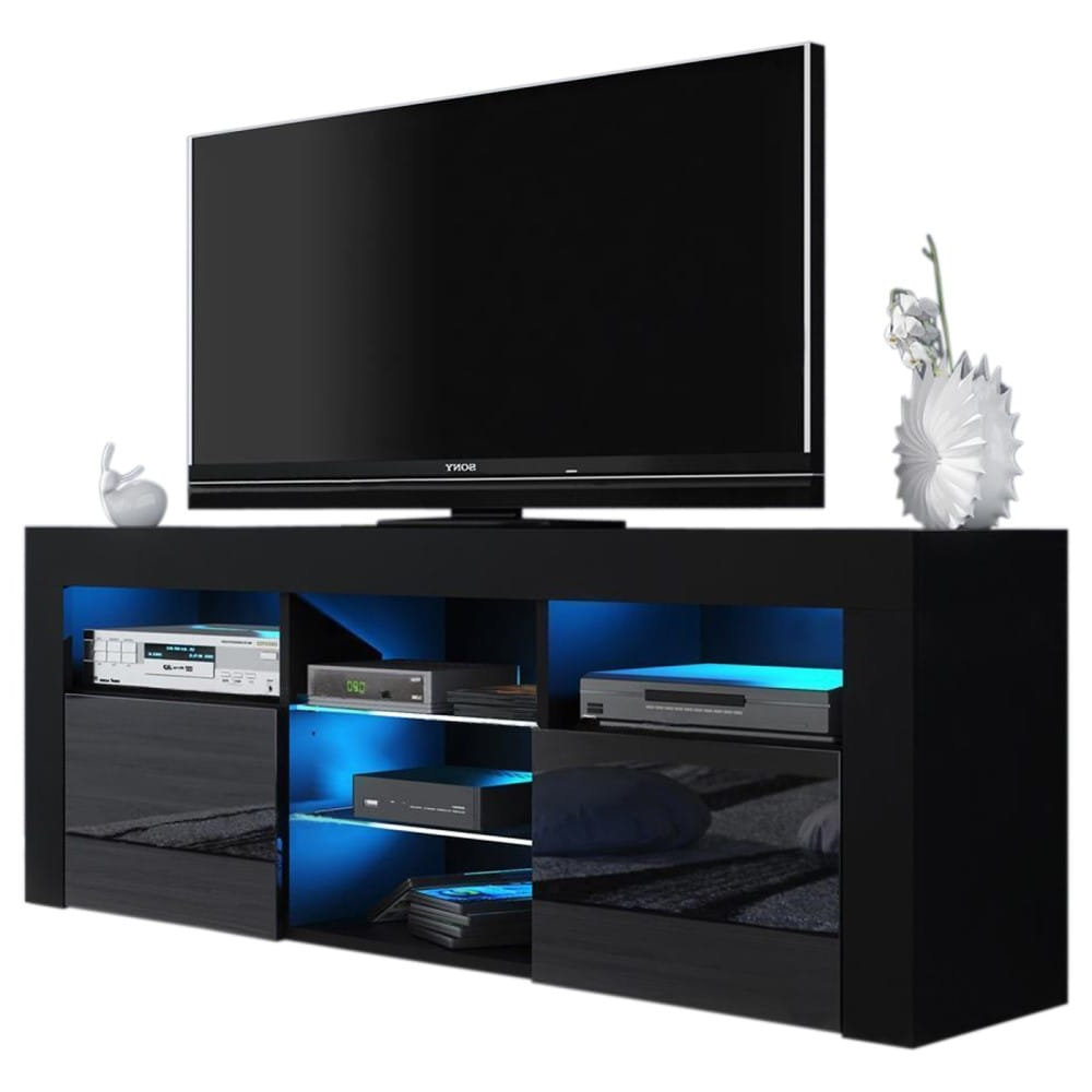 """Milano 145 Black Modern 58"""" Tv Standmeble Furniture Throughout Modern Black Floor Glass Tv Stands With Mount (View 6 of 20)"""