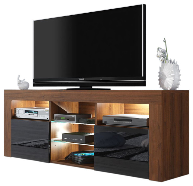 """Milano 145 Modern 57"""" Tv Stand Matte Body High Gloss Throughout Milano 200 Wall Mounted Floating Led 79"""" Tv Stands (View 4 of 20)"""