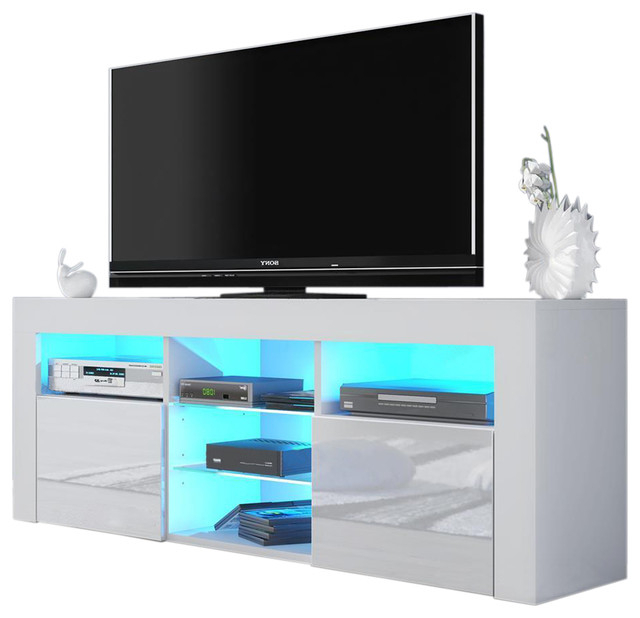 "Milano 145 Modern 65"" Tv Stand Matte Body High Gloss With Zimtown Tv Stands With High Gloss Led Lights (View 13 of 20)"