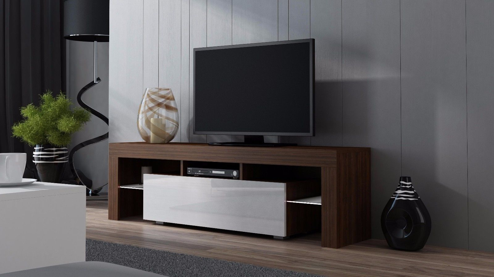 """Milano 160 Walnut Modern Tv Cabinets For Up To 70""""screens Pertaining To Milano 200 Wall Mounted Floating Led 79"""" Tv Stands (View 7 of 20)"""
