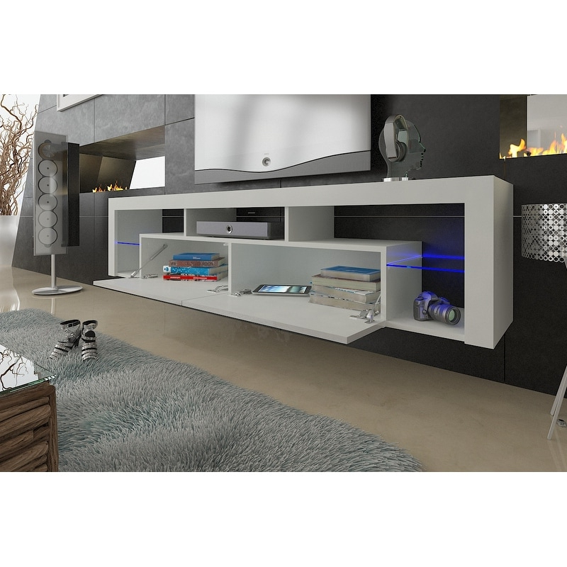 """Milano 200 Wall Mounted Floating 79"""" Tv Stand With 16 With Regard To 57'' Led Tv Stands Cabinet (View 4 of 20)"""