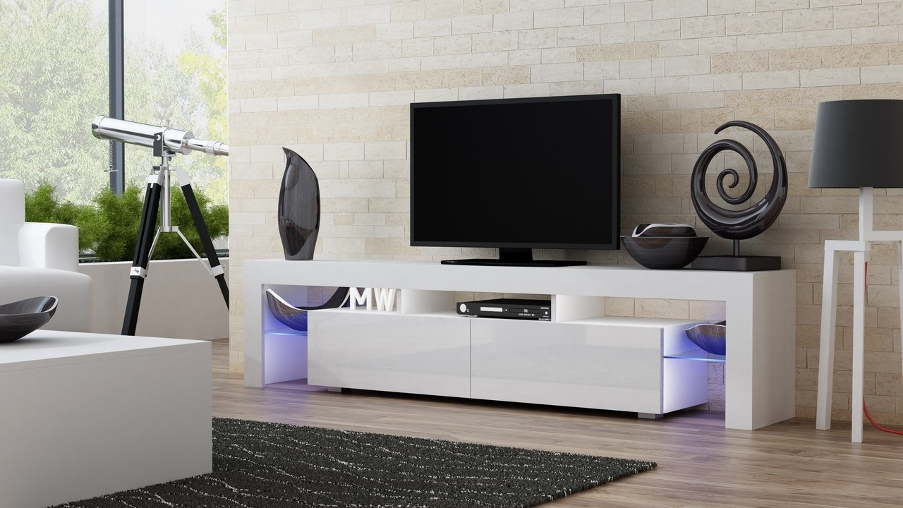 Milano 200 White Modern Living Room Tv Stand / Tv Console Throughout High Glass Modern Entertainment Tv Stands For Living Room Bedroom (View 5 of 20)