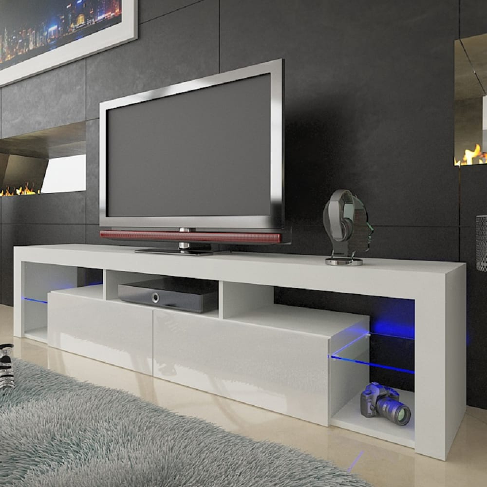 """Milano 200 White Wall Mounted Floating Modern 79"""" Tv Stand With Milano White Tv Stands With Led Lights (View 1 of 20)"""