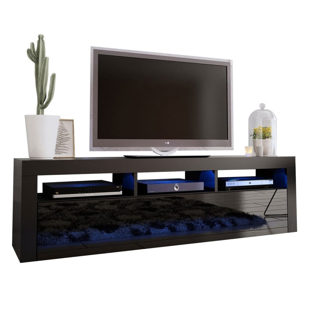 """Milano Classic Black Wall Mounted Floating Modern 63"""" Tv For Milano 200 Wall Mounted Floating Led 79"""" Tv Stands (View 8 of 20)"""