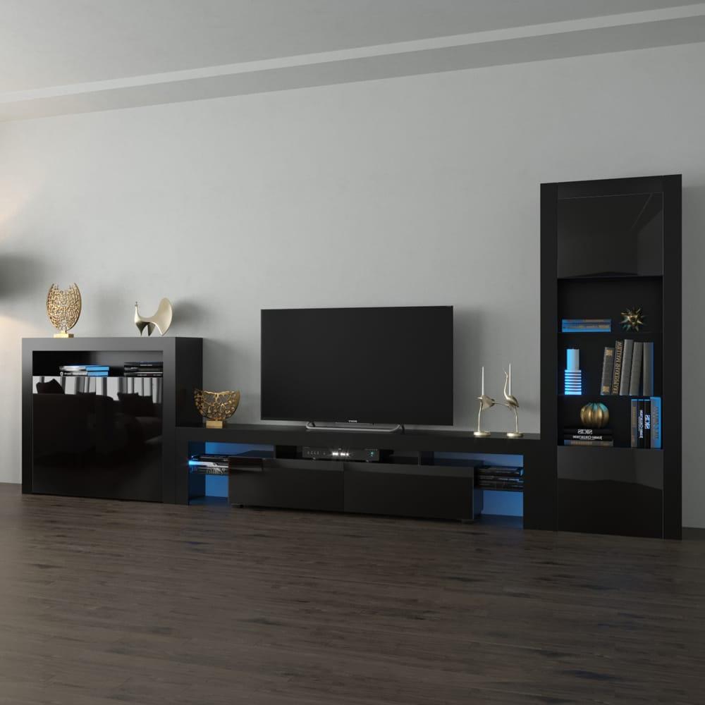Milano Set 200 Bk 2d Modern Black Wall Unit Entertainment Regarding Solo 200 Modern Led Tv Stands (View 4 of 20)