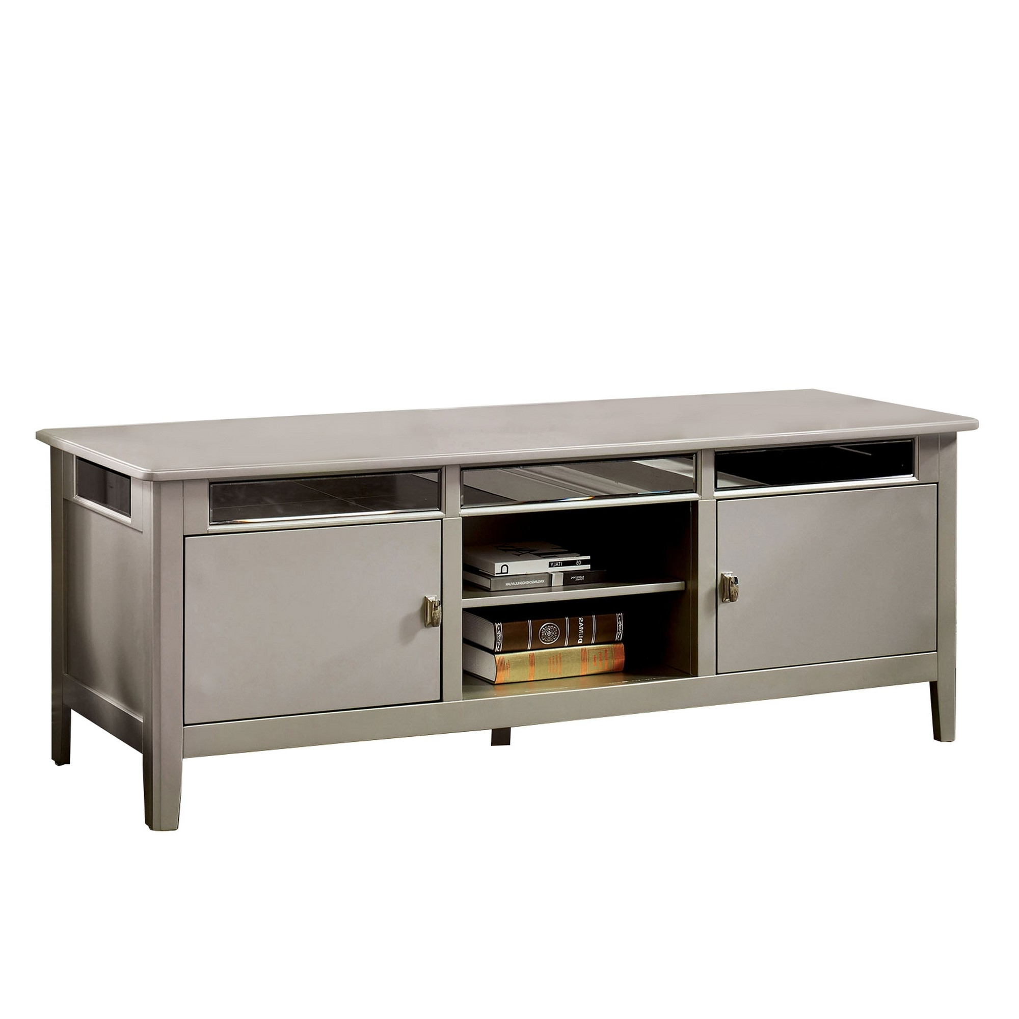 Mirror Paneled Wooden Tv Stand With 2 Cabinets And 2 Open In Fitzgerald Mirrored Tv Stands (View 14 of 20)