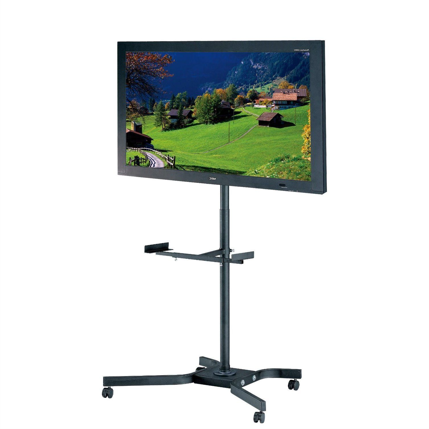 Mobile Tv Cart Metal Stand For Up To 46 Inch Tvs W/ Swivel Regarding Mobile Tv Stands With Lockable Wheels For Corner (View 5 of 20)