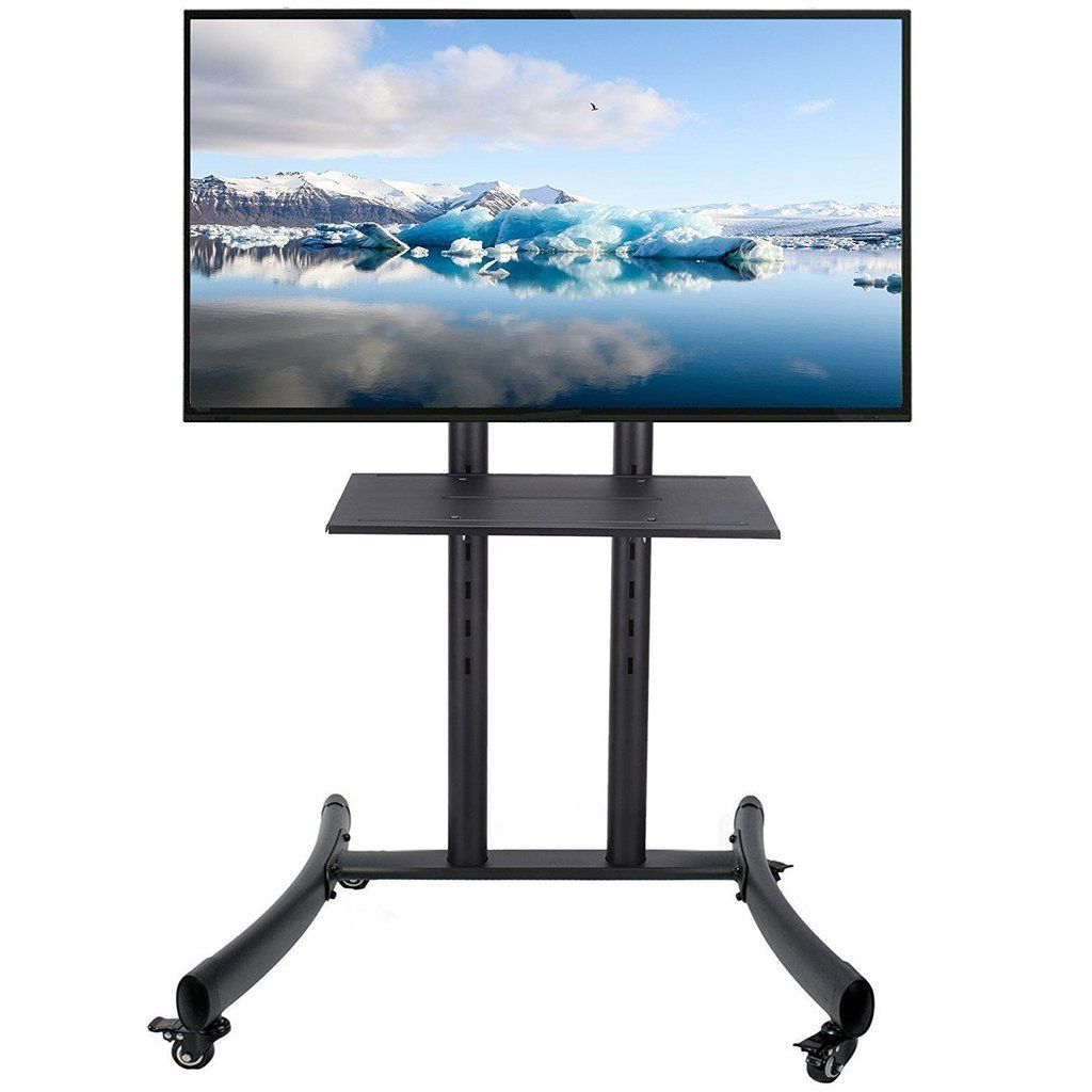 Mobile Tv Stand For Flat Screen Panel Led Lcd Plasma With Regarding Mobile Tv Stands With Lockable Wheels For Corner (View 4 of 20)