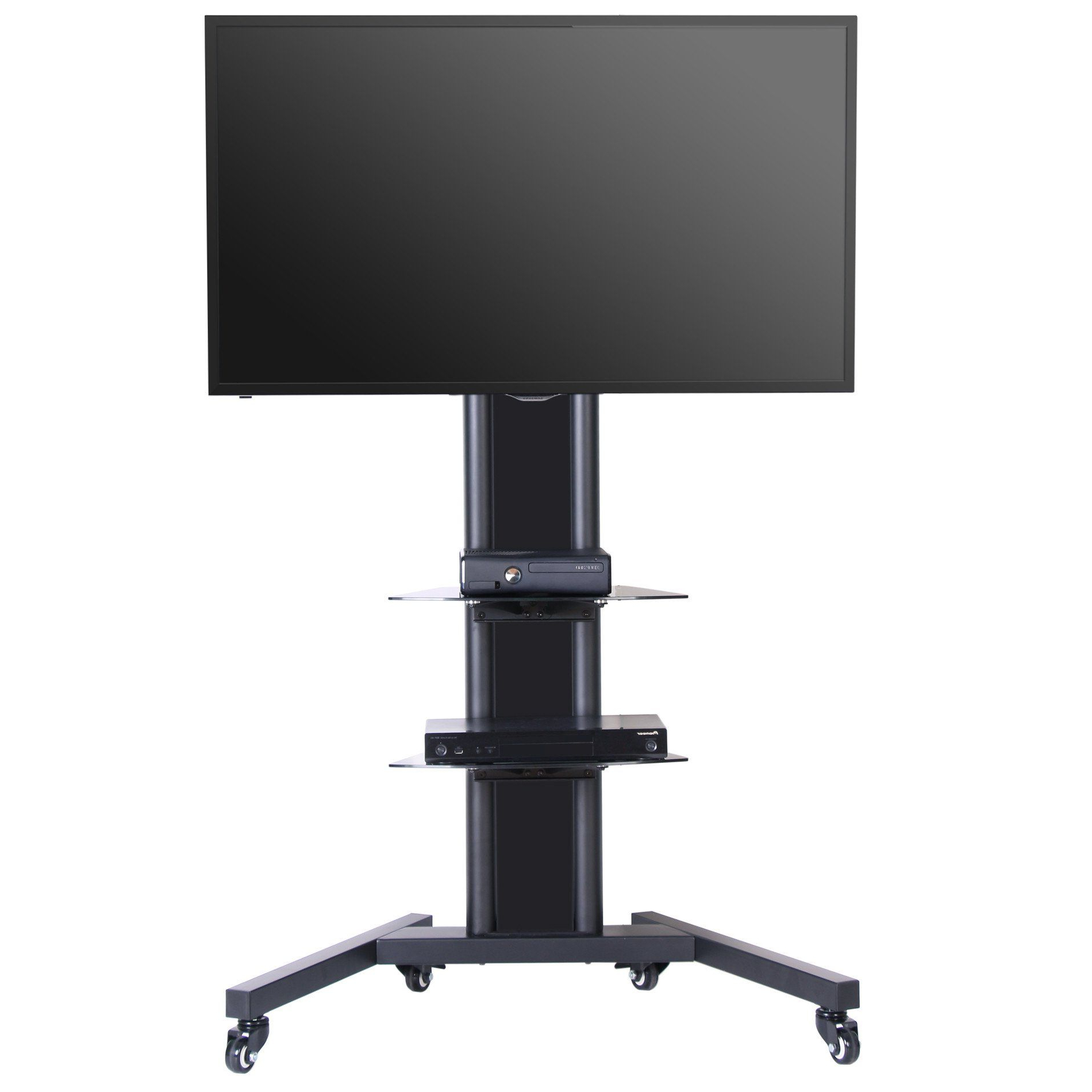 """Mobile Tv Stand With Mount For Up To 65 Inch Tv With Within Whalen Furniture Black Tv Stands For 65"""" Flat Panel Tvs With Tempered Glass Shelves (View 17 of 20)"""