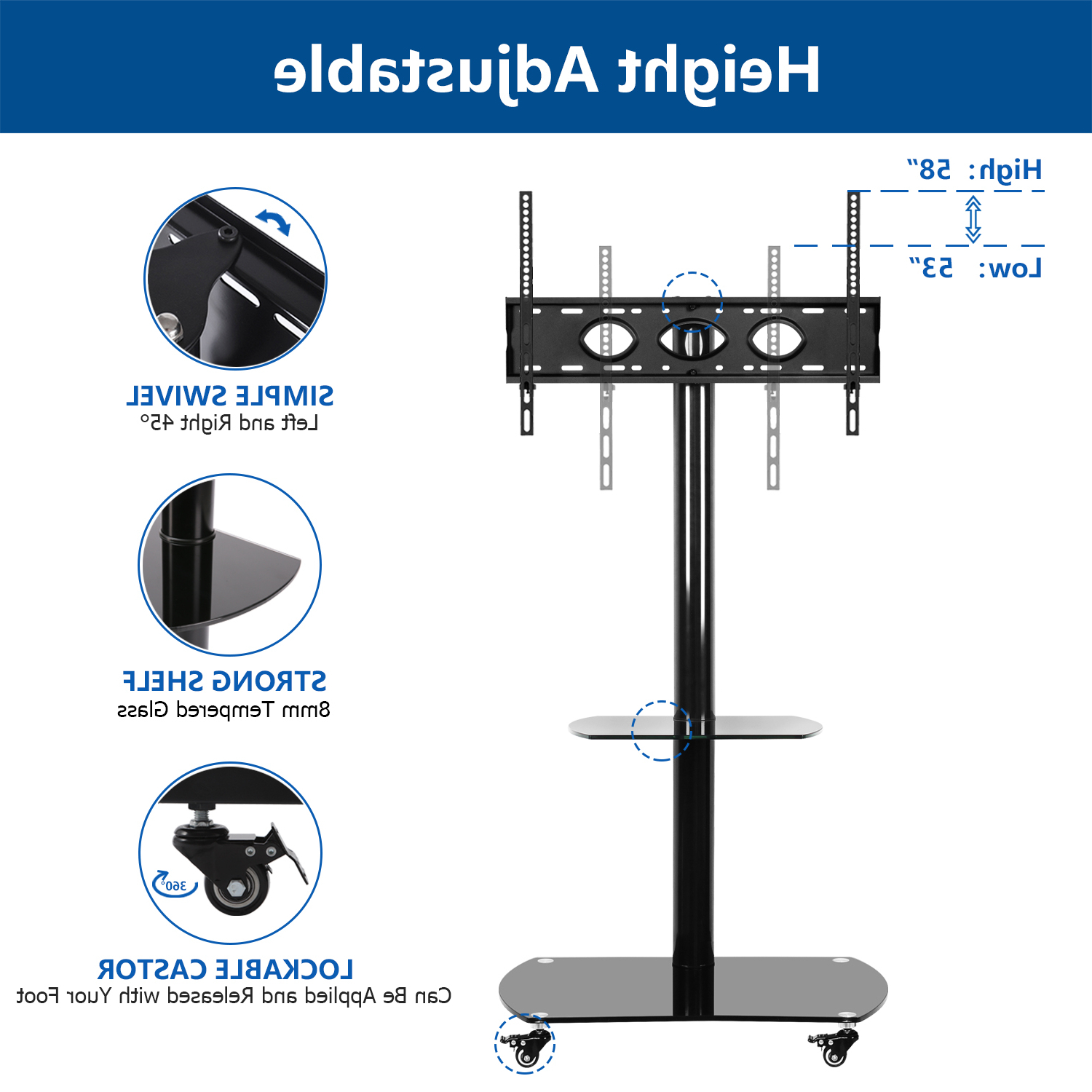 Mobile Tv Stand With Swivel Mount Rolling Wheel For 32 65 With Mount Factory Rolling Tv Stands (View 6 of 20)