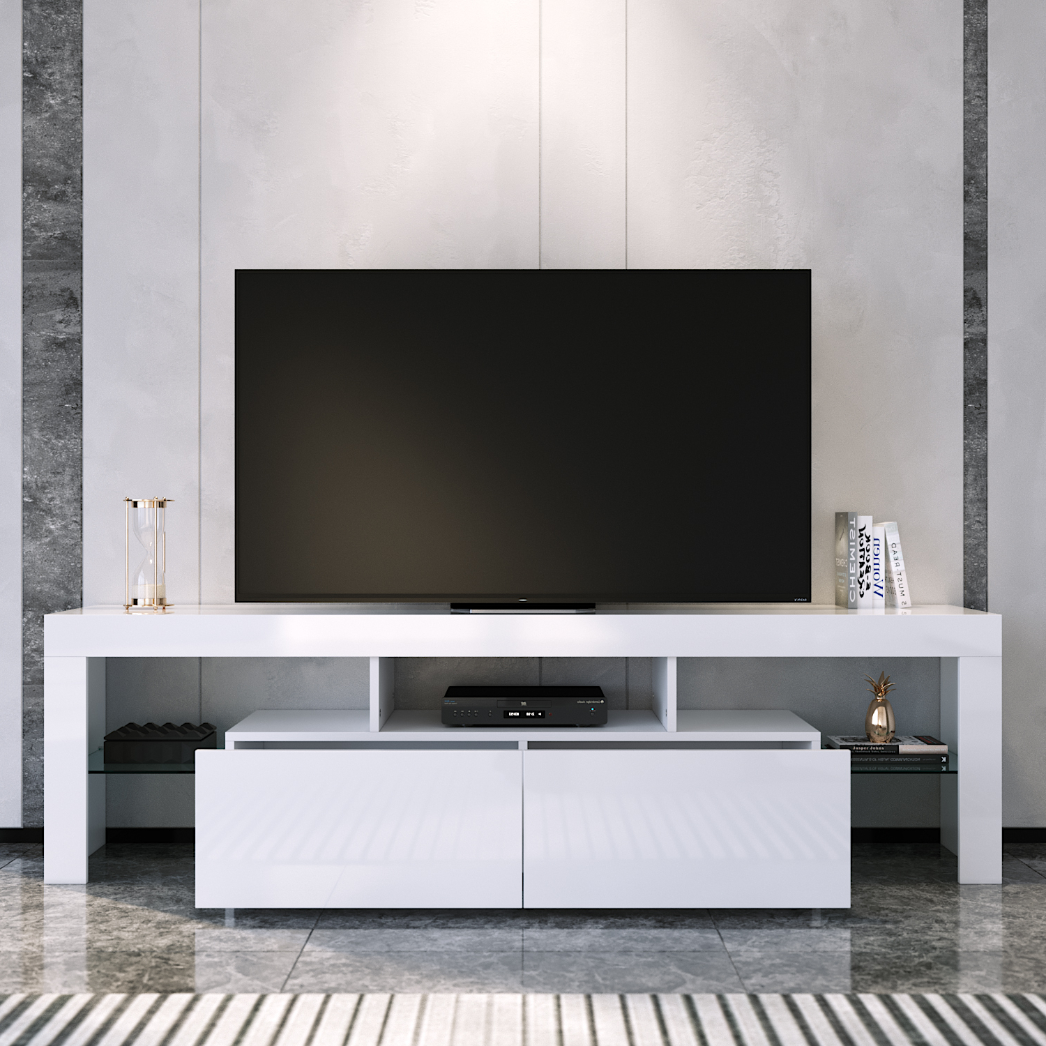 Modern 160cm Tv Unit Stand Matt Body & High Gloss Doors For 57'' Led Tv Stands With Rgb Led Light And Glass Shelves (View 10 of 20)