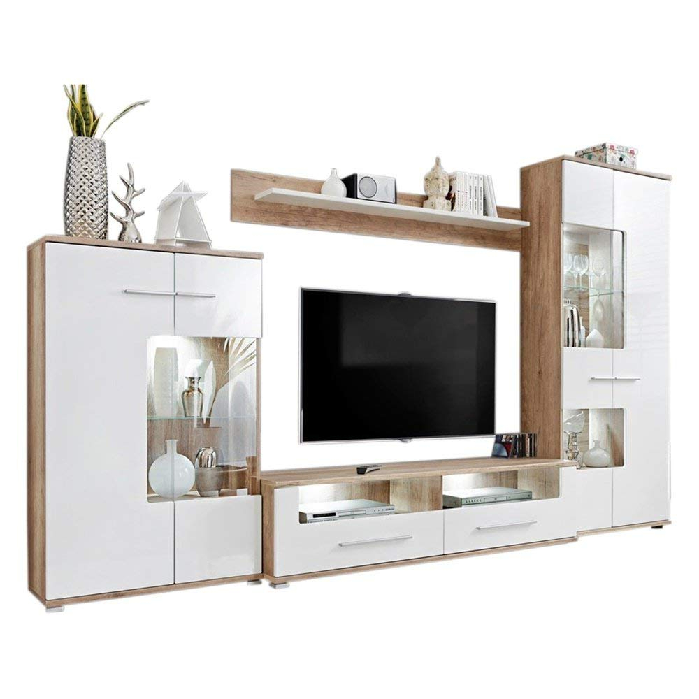 Modern 2 Entertainment Center Wall Unit Tv Stand With Led For Milano White Tv Stands With Led Lights (View 6 of 20)