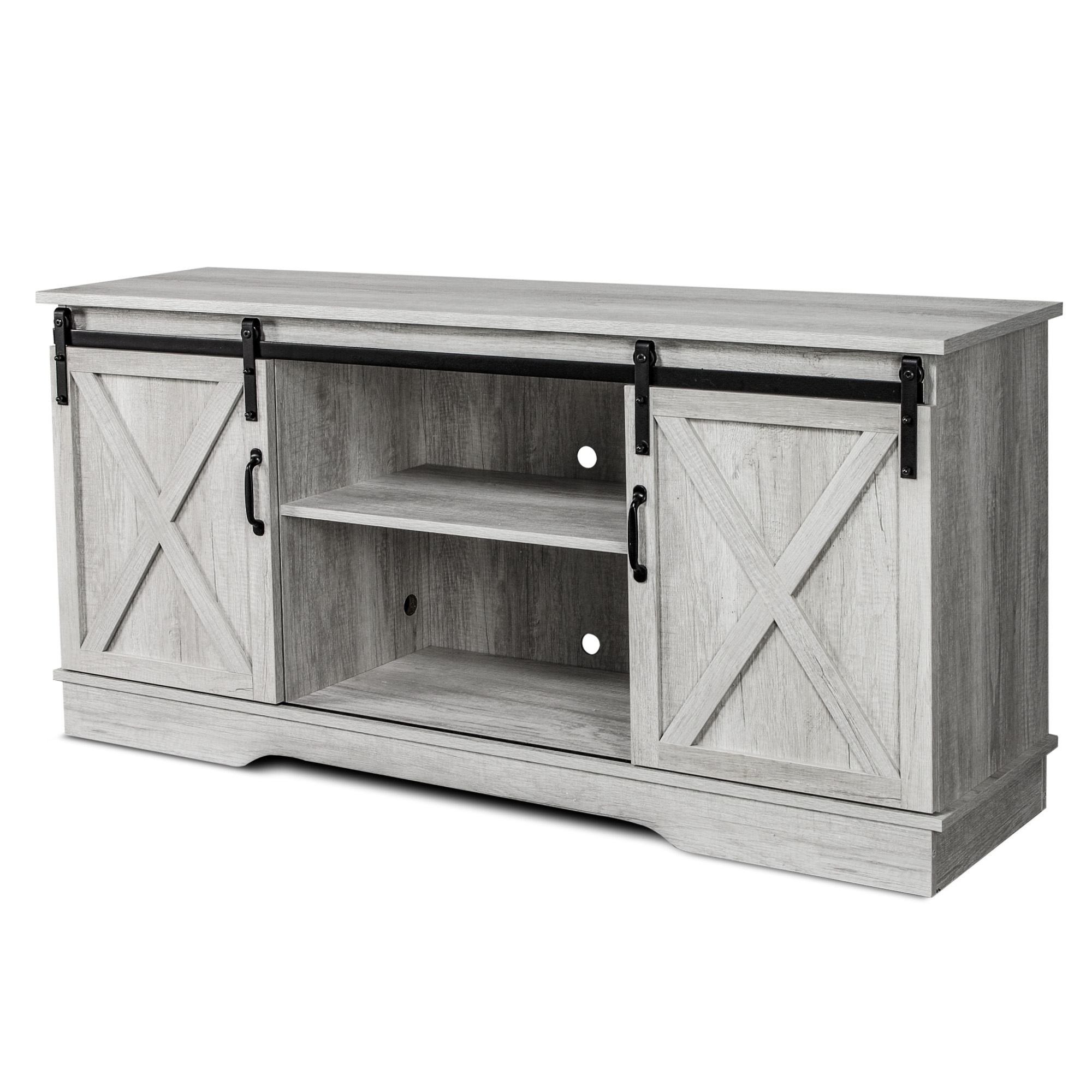 """Modern 58"""" Media Console Sliding Barn Door Television Regarding Modern Farmhouse Style 58"""" Tv Stands With Sliding Barn Door (View 17 of 20)"""