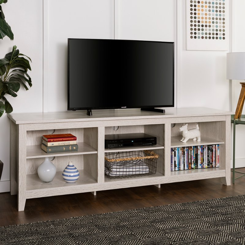 Modern 70 Inch White Wash Tv Stand   Rc Willey Furniture Store Within Modern Black Floor Glass Tv Stands For Tvs Up To 70 Inch (View 11 of 20)