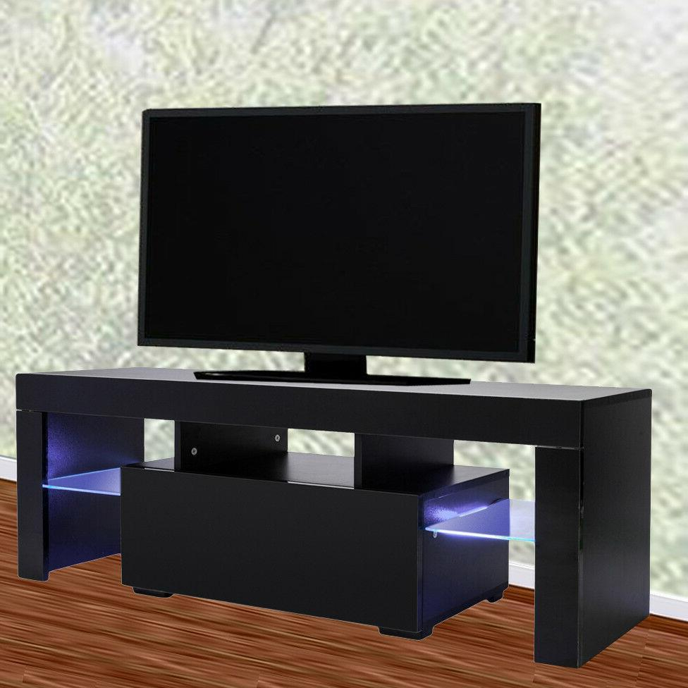 Modern Black 51in High Gloss Tv Cabinet Stand Unit Console Regarding Ktaxon Modern High Gloss Tv Stands With Led Drawer And Shelves (View 9 of 20)