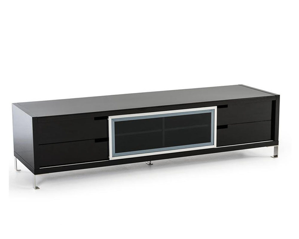 Modern Black High Gloss Tv Stand 44ent30f Blk With Modern Black Tv Stands On Wheels (View 13 of 20)