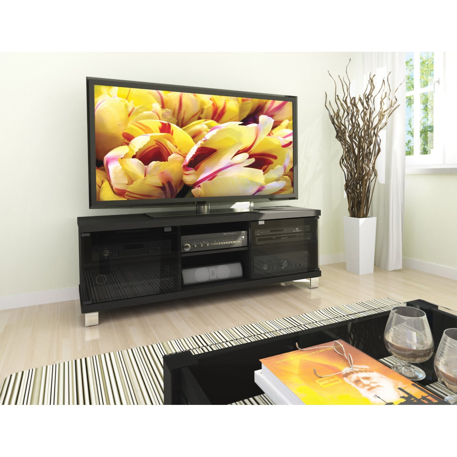 Modern Black Tv Stand With Glass Doors – Fits Up To 68 Inch Tv Regarding Contemporary Black Tv Stands Corner Glass Shelf (View 4 of 20)