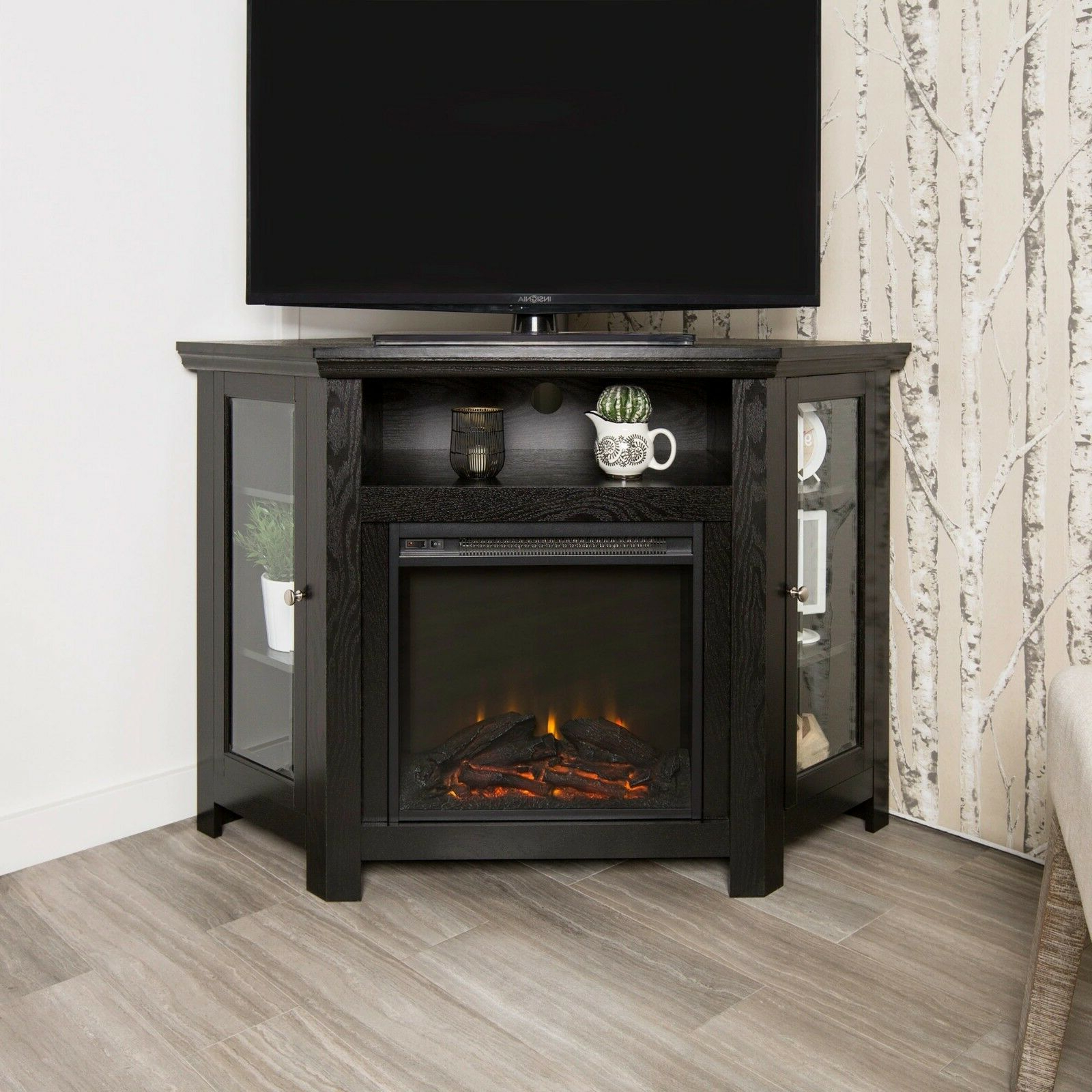 """Modern Corner Electric Fireplace 55"""" Wooden Tv Stand For Wood Corner Storage Console Tv Stands For Tvs Up To 55"""" White (View 17 of 20)"""