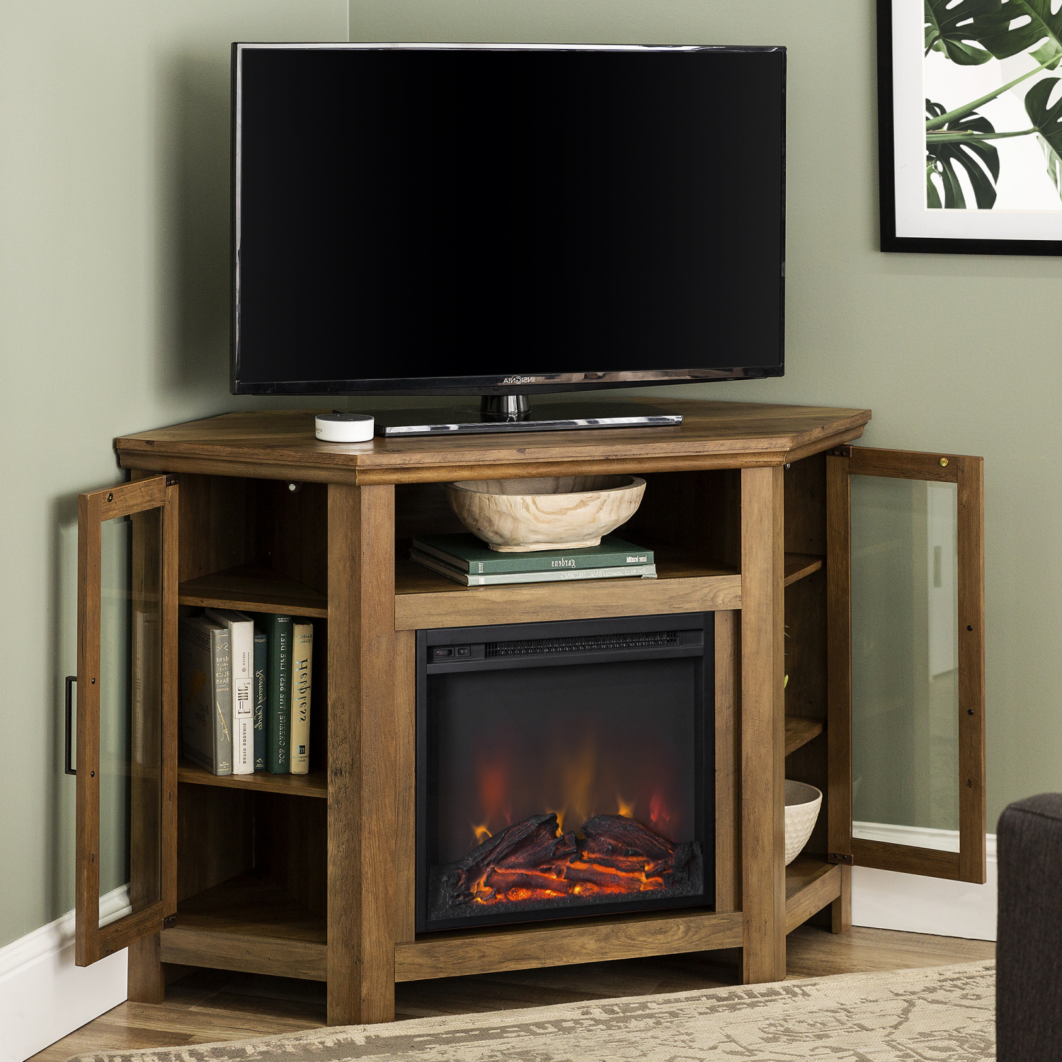 """Modern Corner Electric Fireplace 55"""" Wooden Tv Stand Within Glass Doors Corner Tv Stands For Tvs Upto 42"""" (View 5 of 20)"""