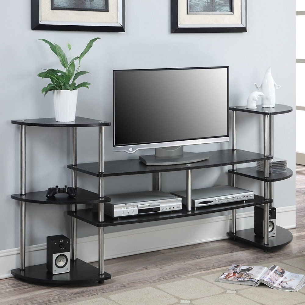 Modern Design Black Multi Level Tv Stand For Tv's Up To 47 With Regard To Space Saving Black Tall Tv Stands With Glass Base (View 8 of 20)