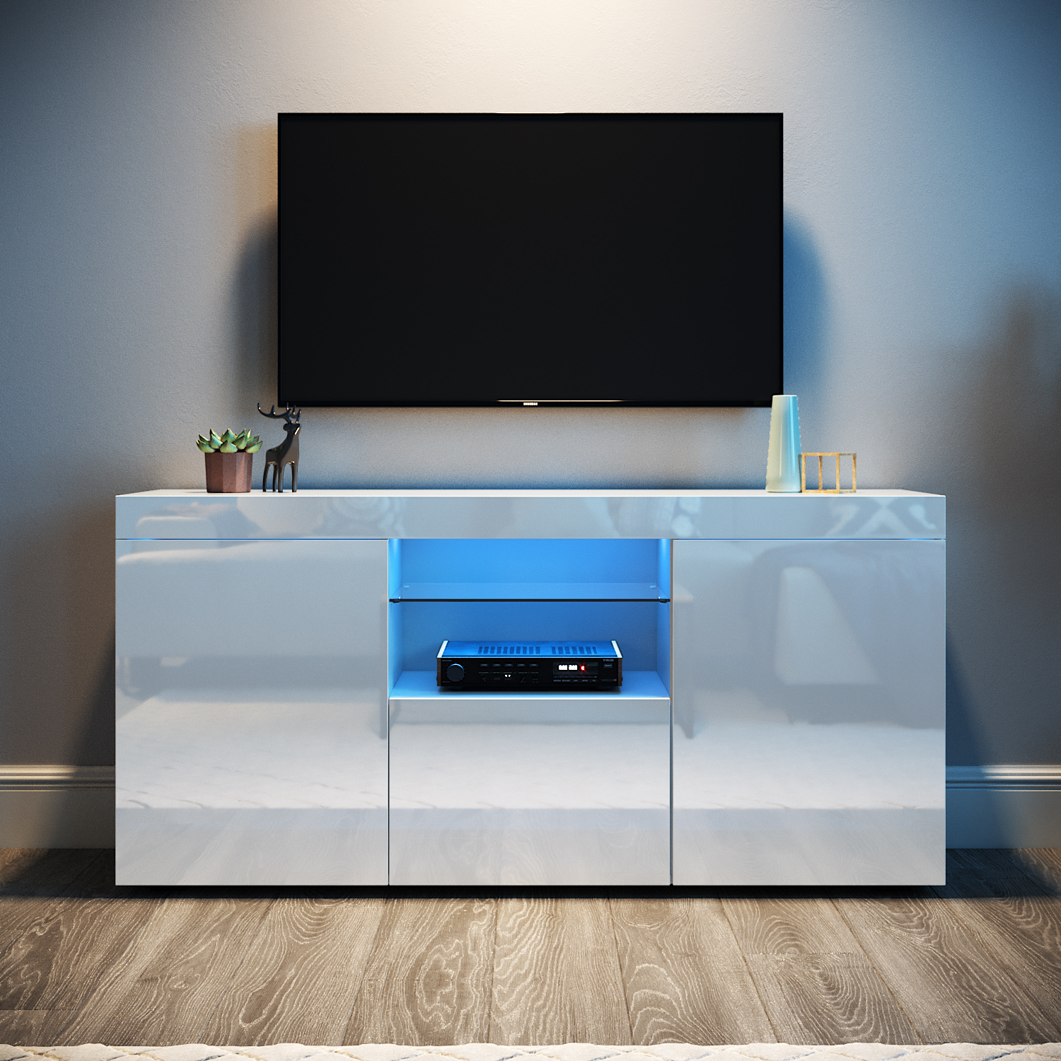 Modern Entertainment Unit Tv Stand White Cabinet High Regarding Tv Stands Cabinet Media Console Shelves 2 Drawers With Led Light (View 1 of 20)