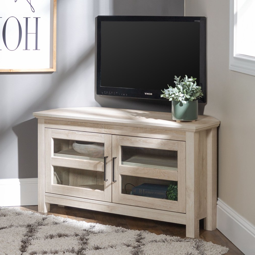 """Modern Farmhouse 44 Inch Wood Corner Tv Stand – White Oak Throughout Wood Corner Storage Console Tv Stands For Tvs Up To 55"""" White (View 1 of 20)"""